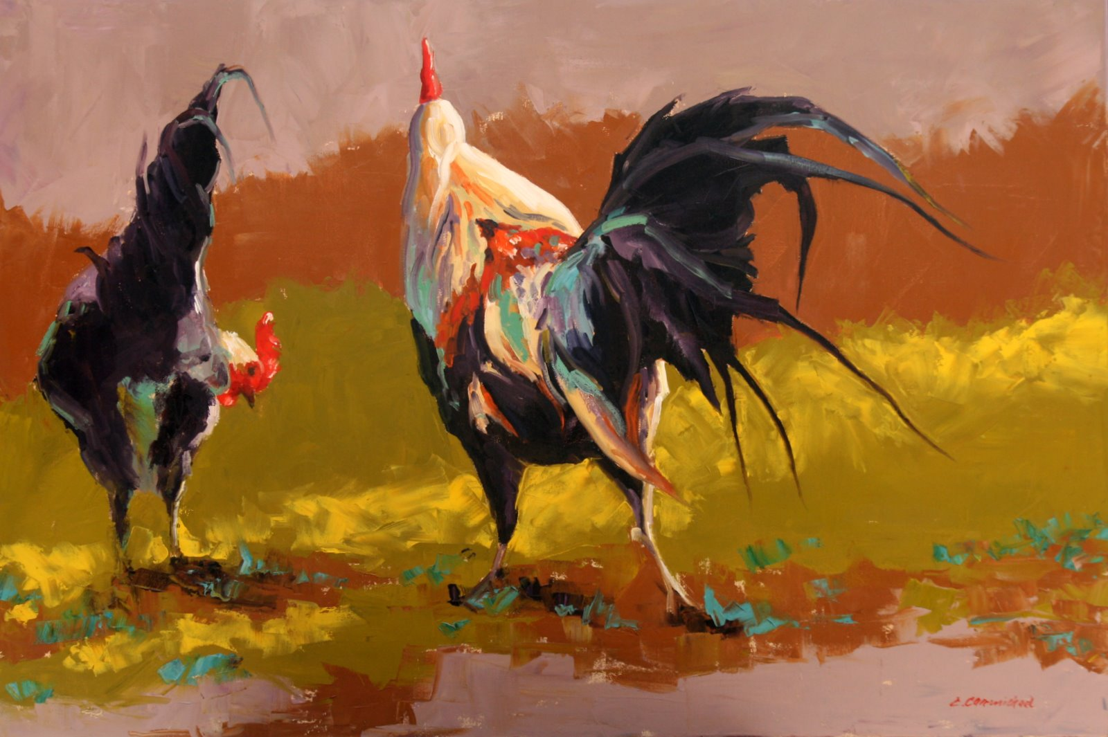 """runaway rooster"" original fine art by Carol Carmichael"
