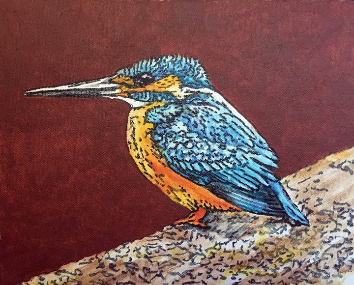 """Kingfisher"" original fine art by Nan Johnson"