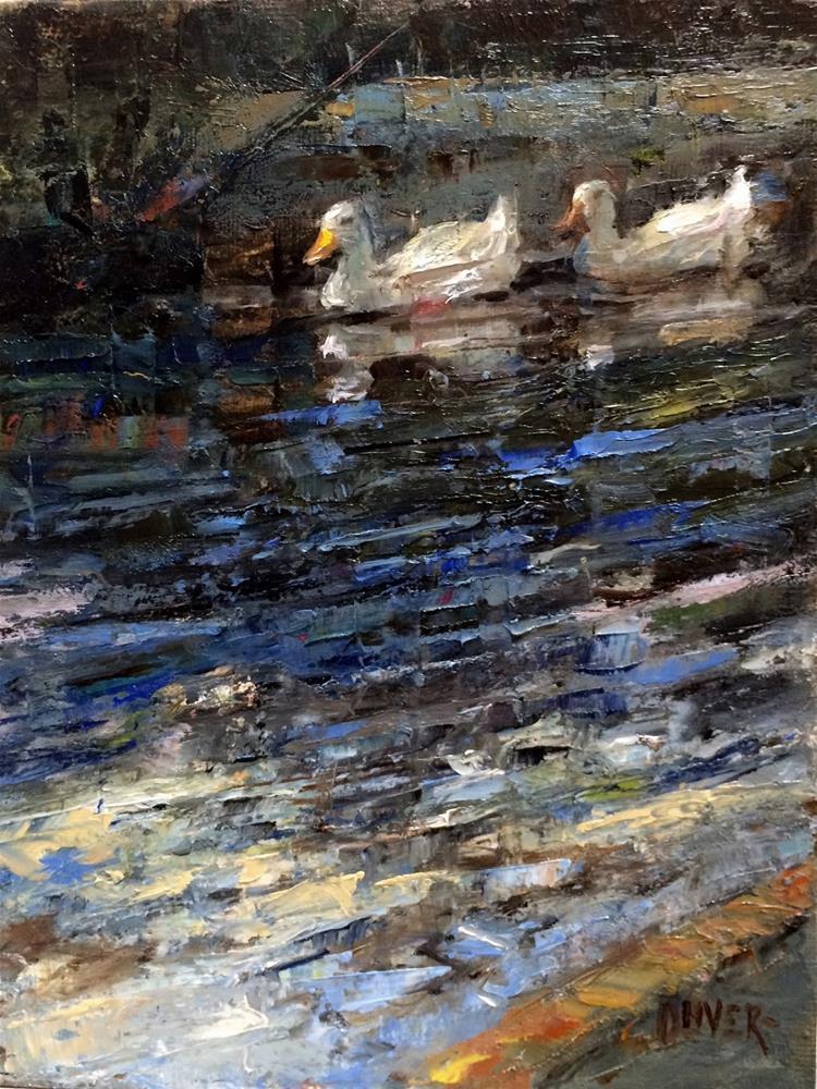 """Escargot For The Ducks!"" original fine art by Julie Ford Oliver"