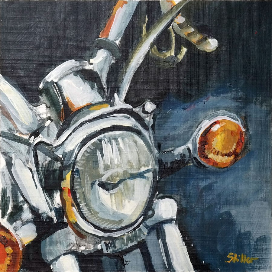 """1896 Motorcycle Yahamama"" original fine art by Dietmar Stiller"
