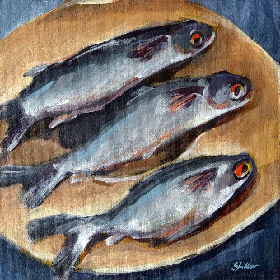 """""""1806 Three Sardines"""" original fine art by Dietmar Stiller"""