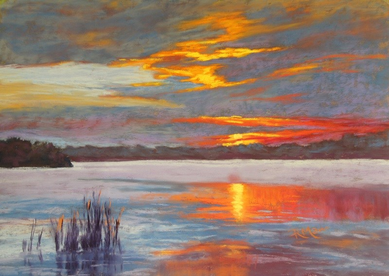 """Ontario Sunset"" original fine art by Ruth Mann"