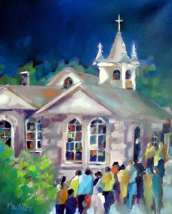 """The Little Pink Church That Could"" original fine art by Laurie Mueller"