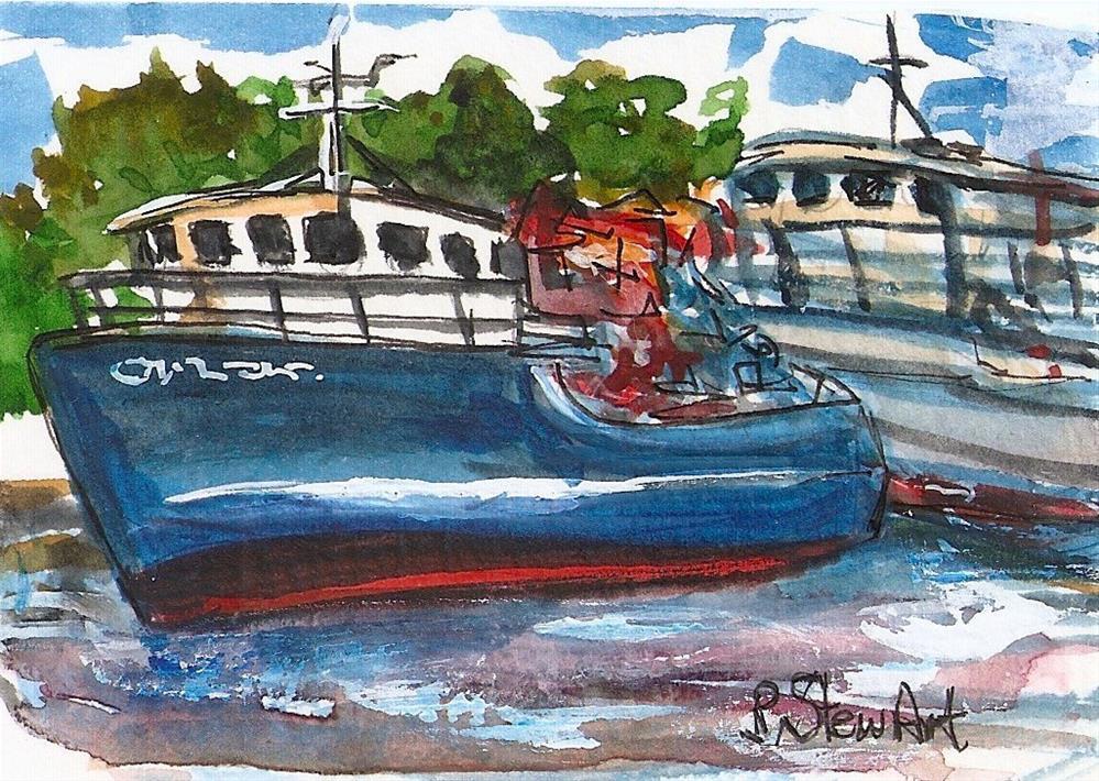 """""""ACEO Boats Harbor Watercolor Seascape Landscape Miniature by Penny StewArt"""" original fine art by Penny Lee StewArt"""