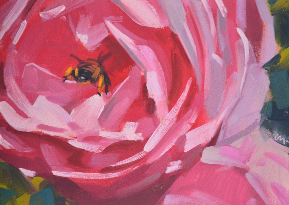 """Bee Butt"" original fine art by Carol Marine"