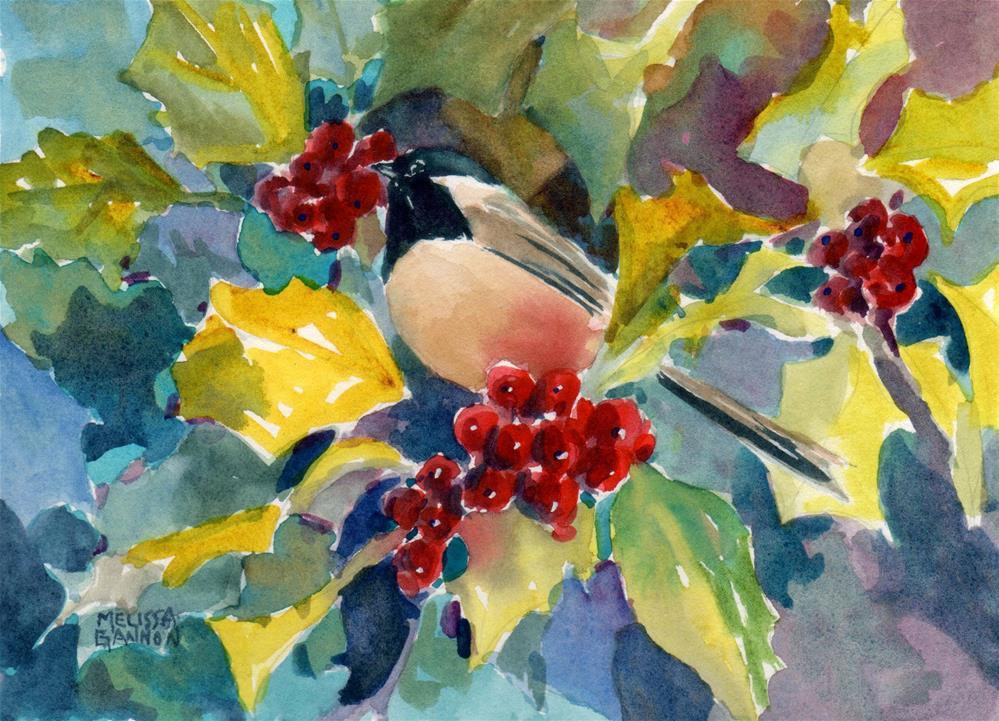 """Perch in the Holly Tree"" original fine art by Melissa Gannon"