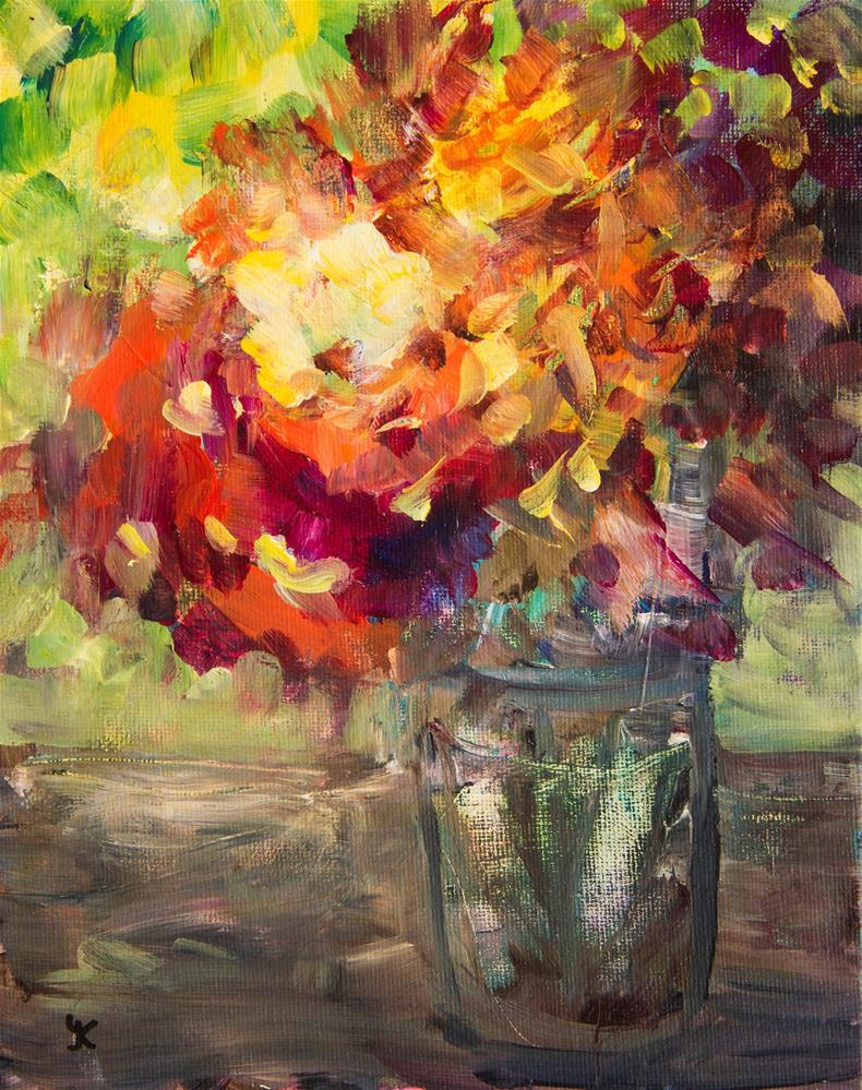 """Red Flowers in a Vase"" original fine art by Yulia Kazansky"