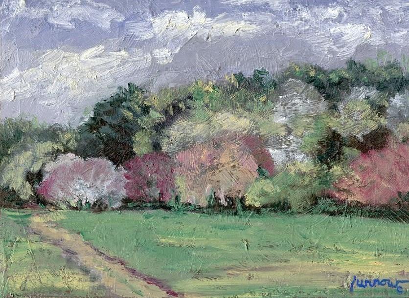 """ORIGINAL PAINTING SPRING TREES"" original fine art by Sue Furrow"