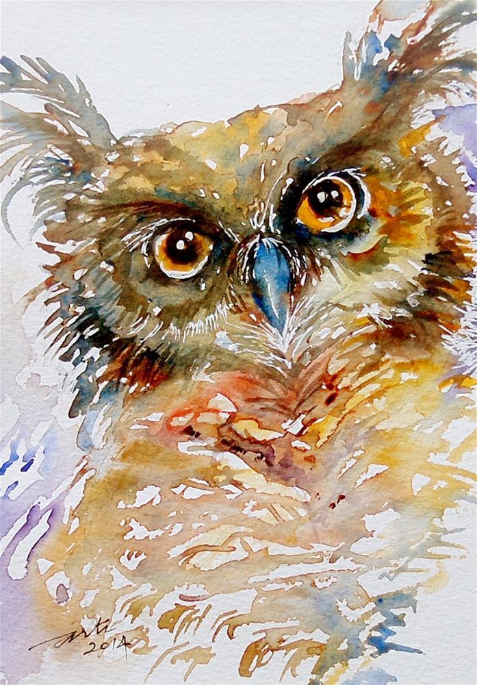 """Tufted Ear Owl"" original fine art by Arti Chauhan"