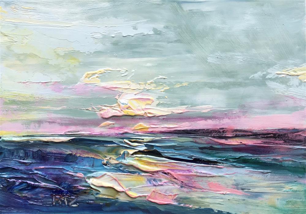 """""""Impasto Seascape 26"""" original fine art by Charlotte Fitzgerald"""