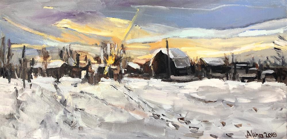 """""""Western Farm in Snow"""" original fine art by Alina Vidulescu"""