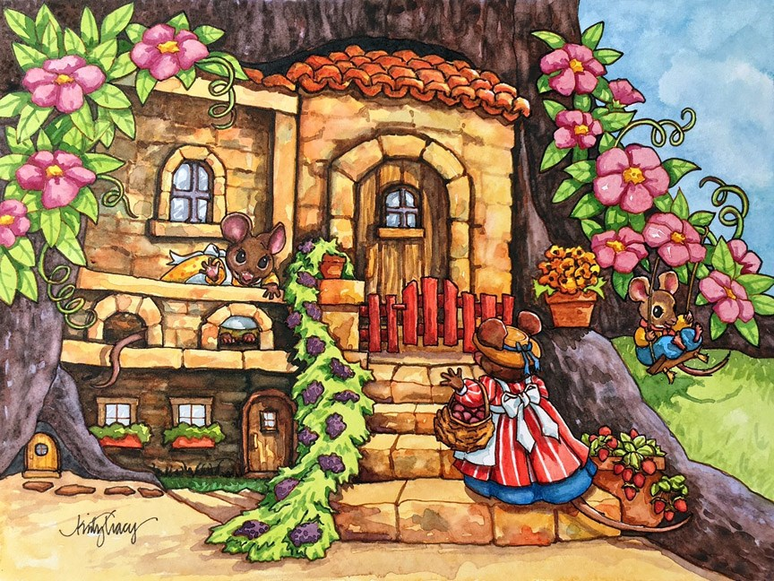 """""""MOUSE HOUSE"""" original fine art by Kristy Tracy"""