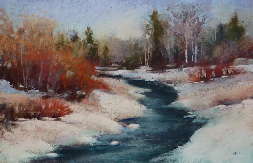 """News From my Studio Winter Stream"" original fine art by Karen Margulis"