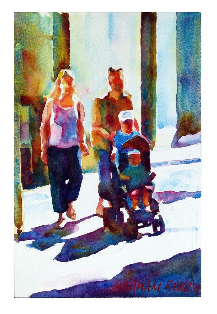 """Family stroll 2"" original fine art by Graham Berry"