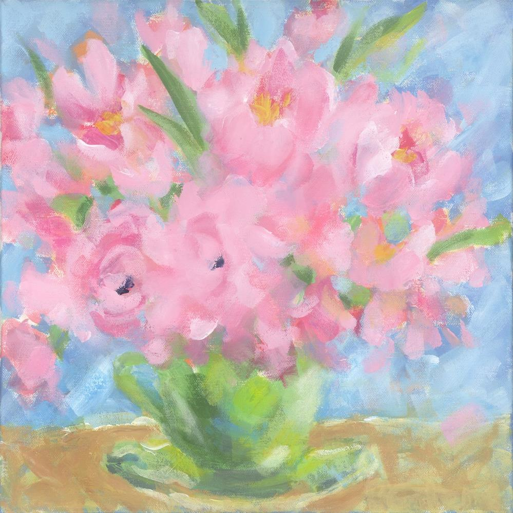 """Teacup Pinks"" original fine art by Pamela Gatens"