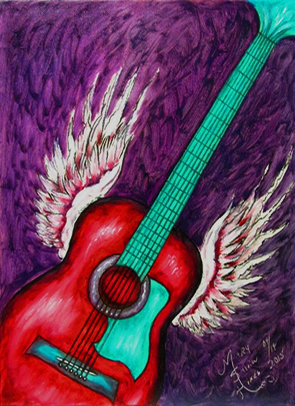 """Wings Beneath My Strings v1"" original fine art by Mary Sylvia Hines"