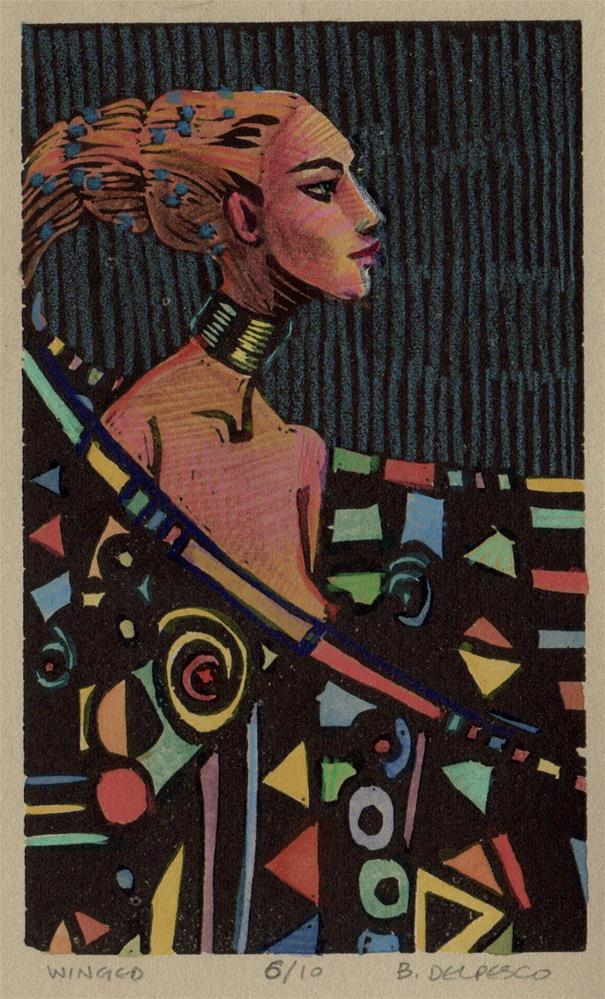 """""""Linocut: Winged (& when artists steal from each other)"""" original fine art by Belinda Del Pesco"""