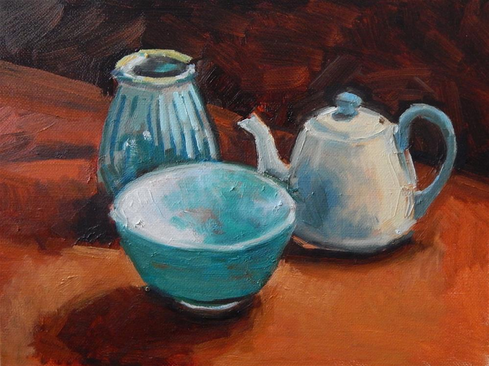"""Small Still Life With Blue Theme"" original fine art by Megan Schembre"