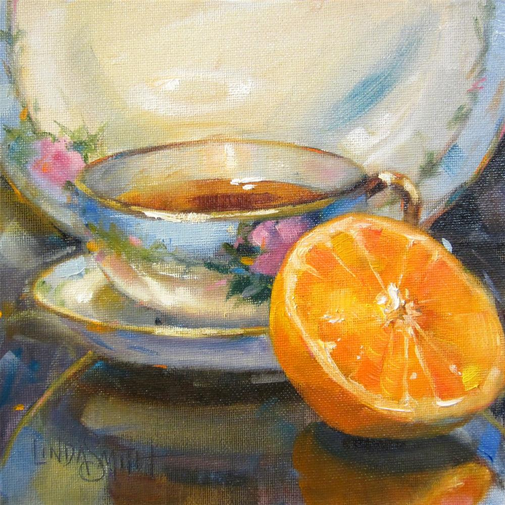 """Blue China and Orange"" original fine art by Linda K Smith"