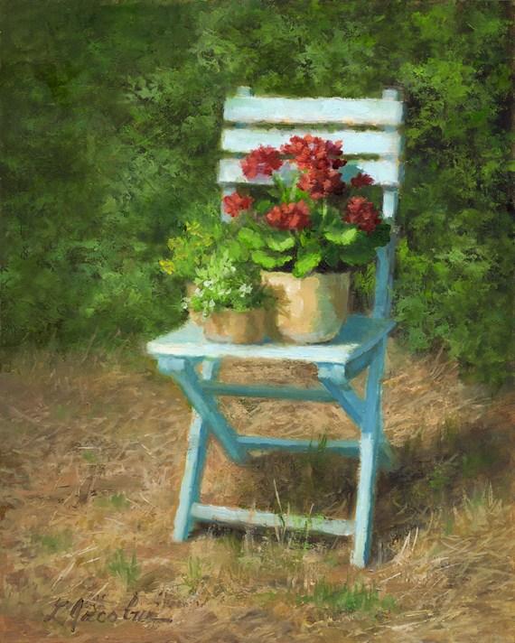 """The Blue Chair"" original fine art by Linda Jacobus"