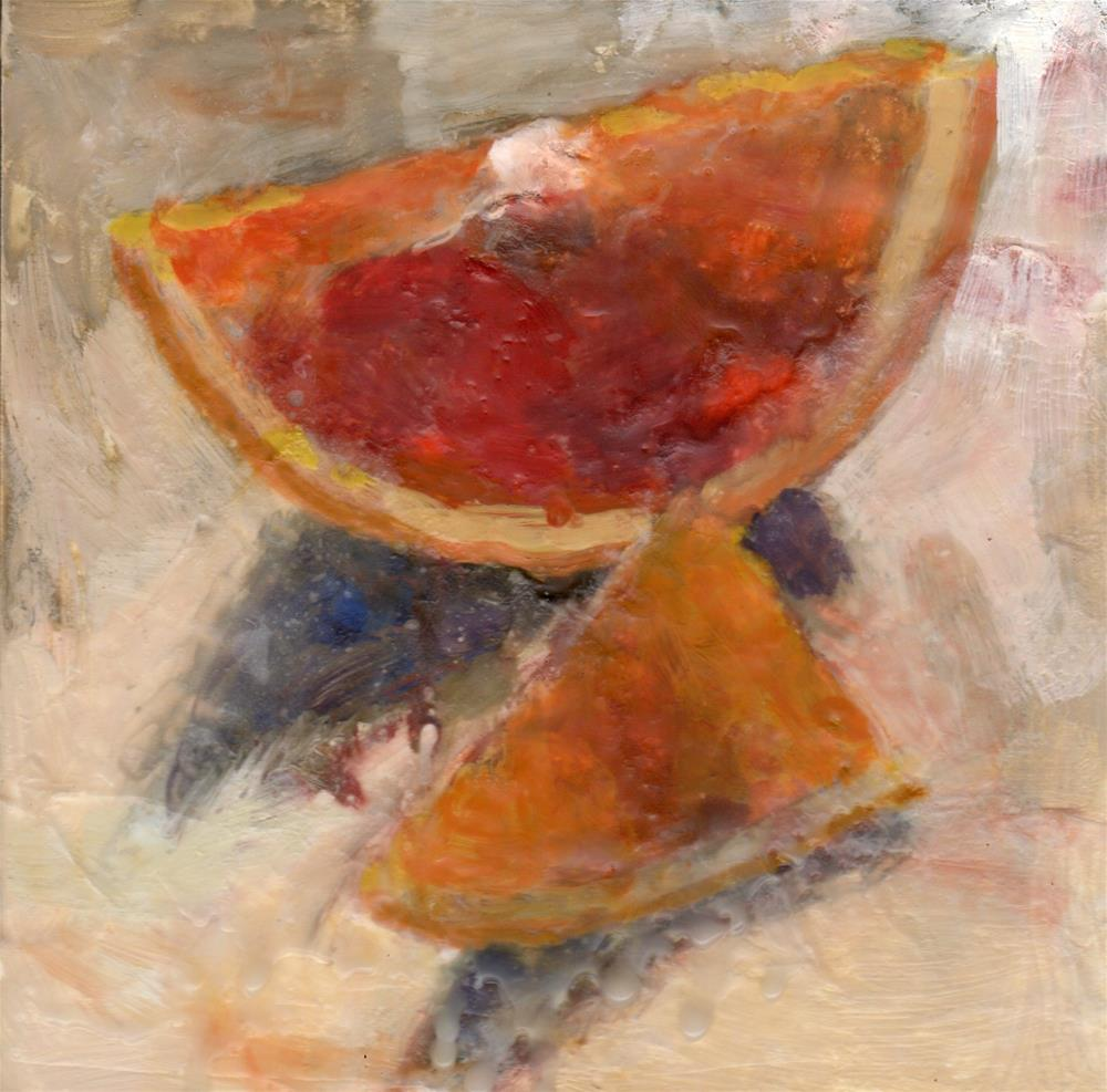 """Sliced Oranges encaustic painting"" original fine art by Marlene Lee"