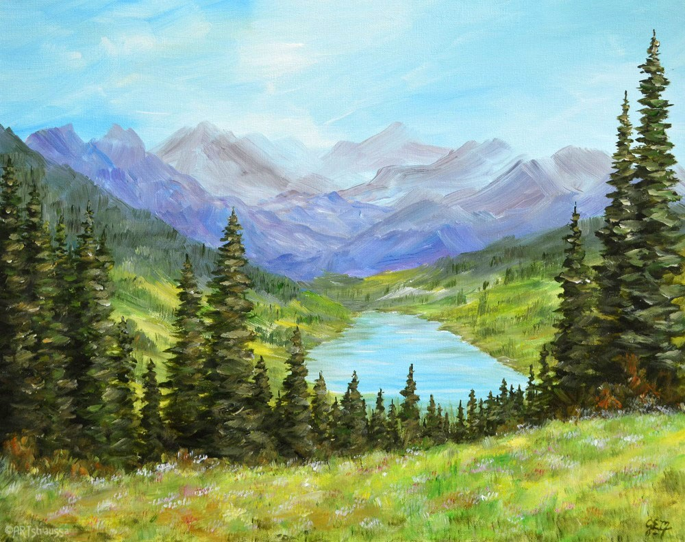 """Austrian Alps Behind the Trees"" original fine art by Gloria Ester"