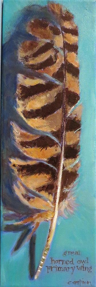"""604 Great Horned Owl Primary Wing Feather"" original fine art by Diane Campion"