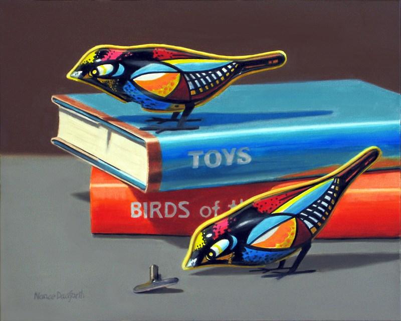 """""""Toy Birds"""" original fine art by Nance Danforth"""