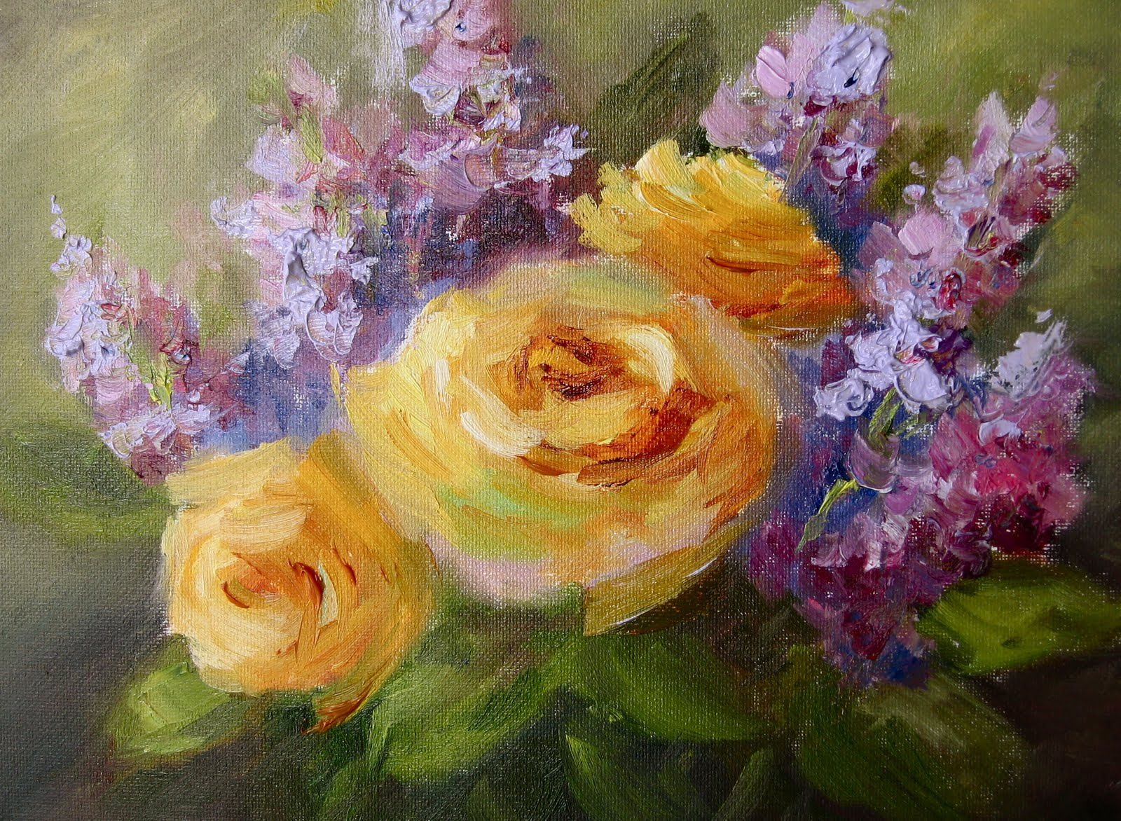 """Flower Study #8- Roses & Lilacs"" original fine art by Pat Fiorello"