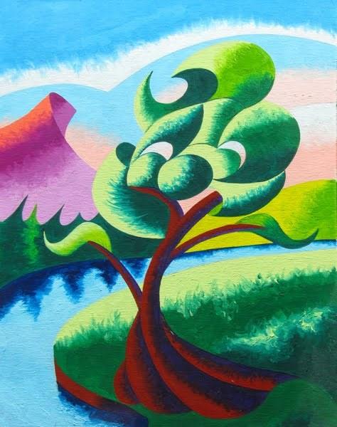 """Mark Webster - Abstract Geometric Landscape Oil Painting 2012-04-05"" original fine art by Mark Webster"