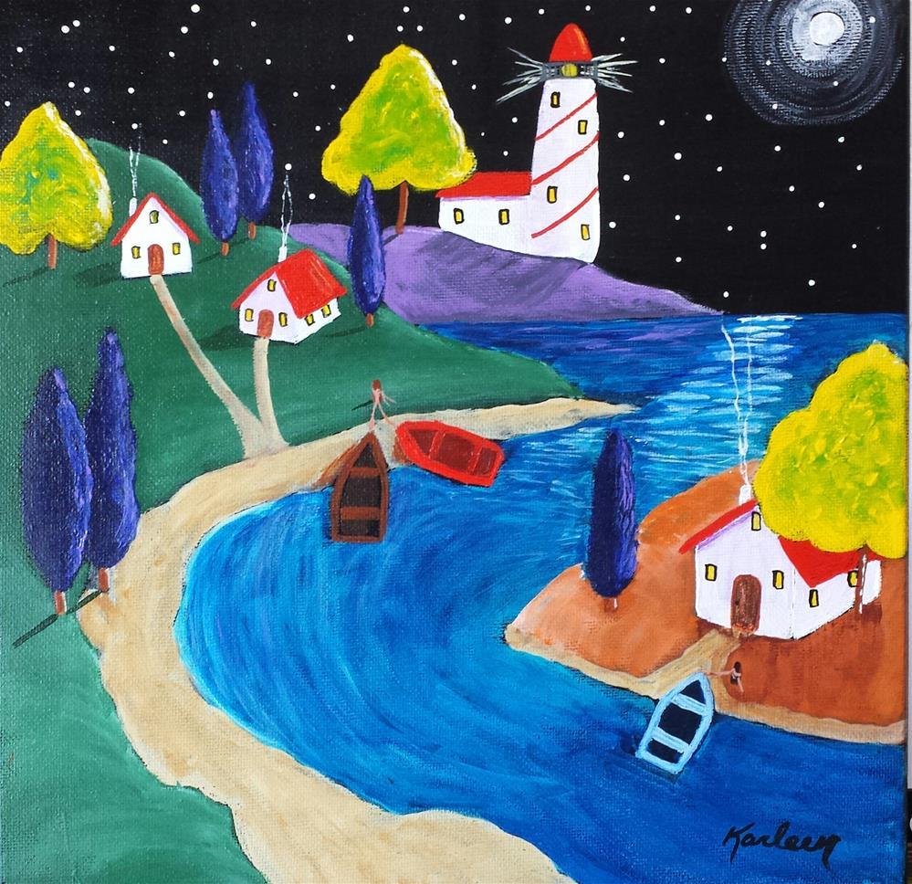 """Moonlit Night"" original fine art by Karleen Kareem"