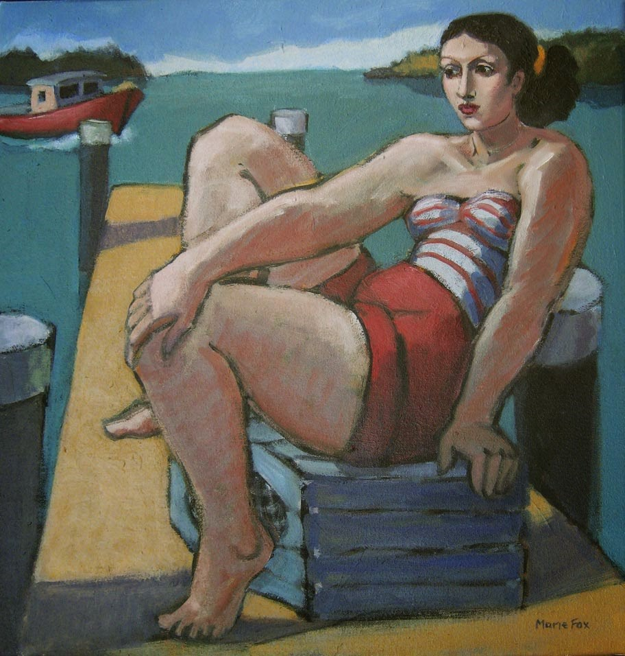 """""""Maine Afternoon, woman on dock by ocean, lobster pot, lobster boat, fishing pier, contemporary figur"""" original fine art by Marie Fox"""