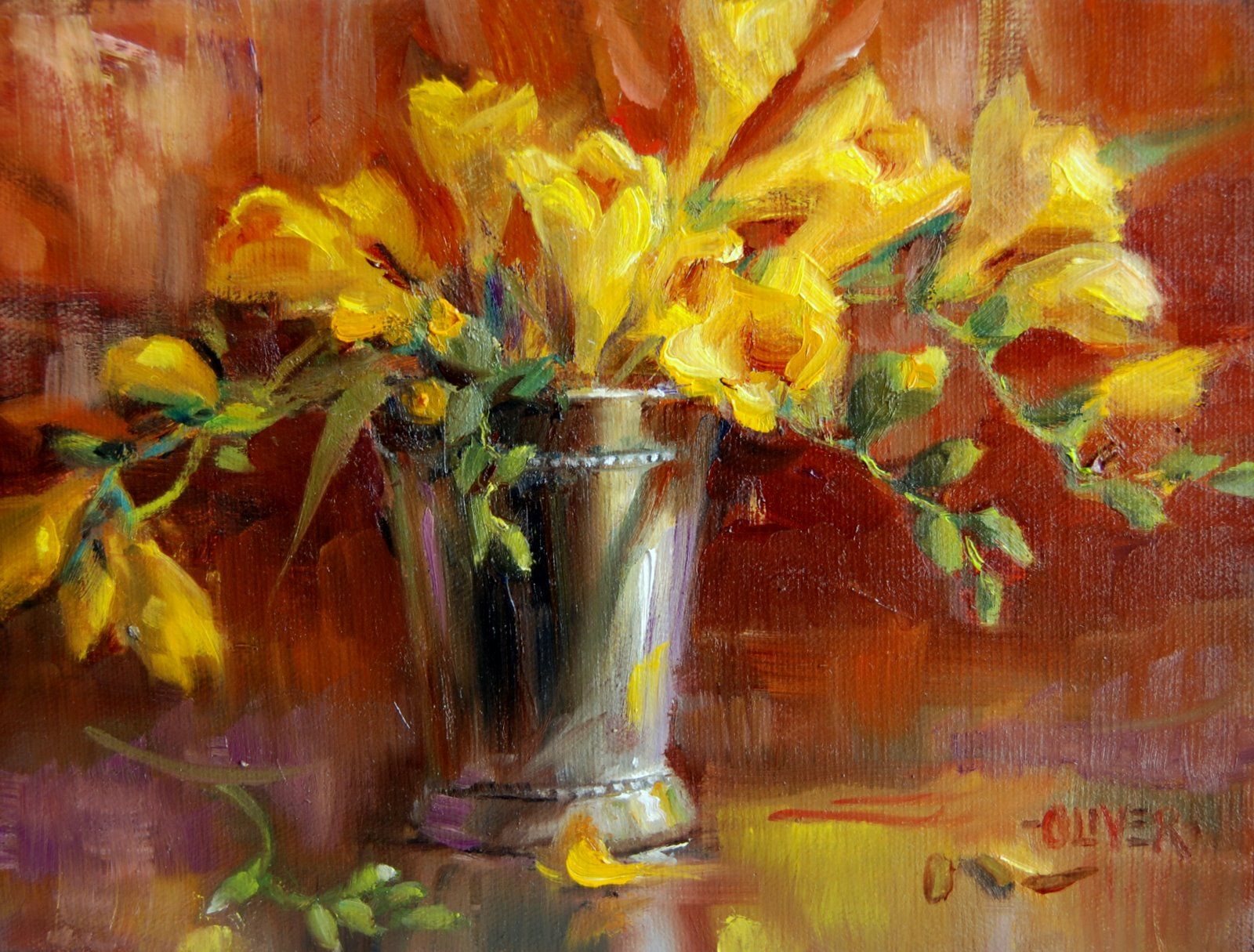 """""""Freesia Delight"""" original fine art by Julie Ford Oliver"""