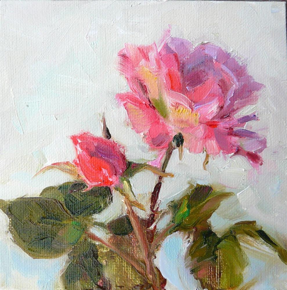 """New May Roses,still life,oil on canvas,6x6,price$175"" original fine art by Joy Olney"