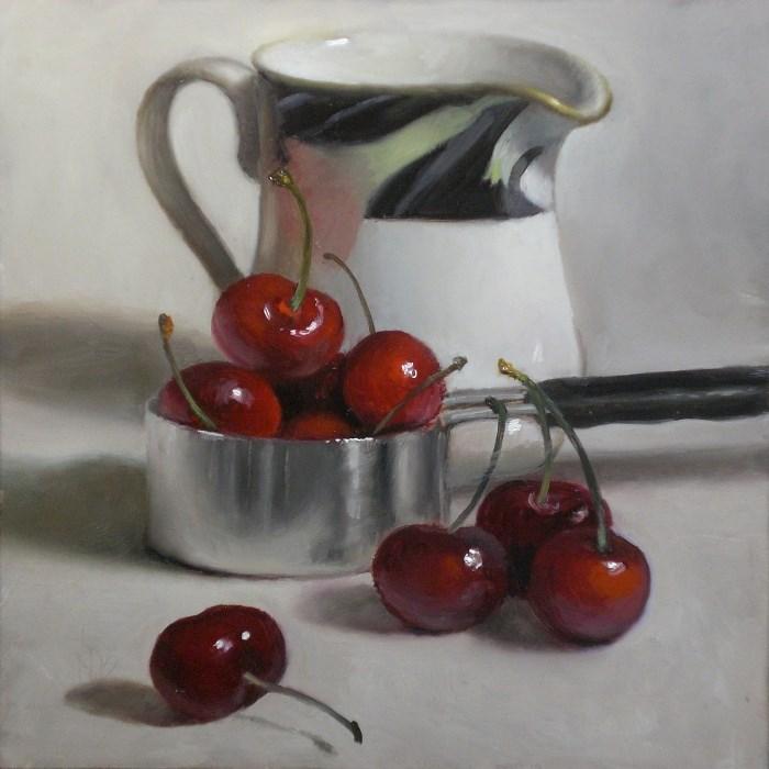 """Cherries and Creamer"" original fine art by Debra Becks Cooper"