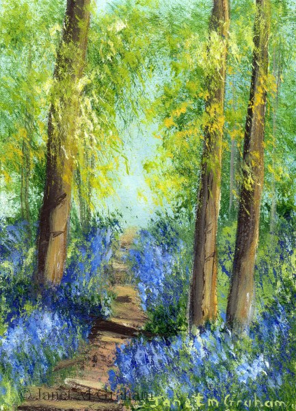 """""""Bluebell Trail 2 ACEO"""" original fine art by Janet Graham"""