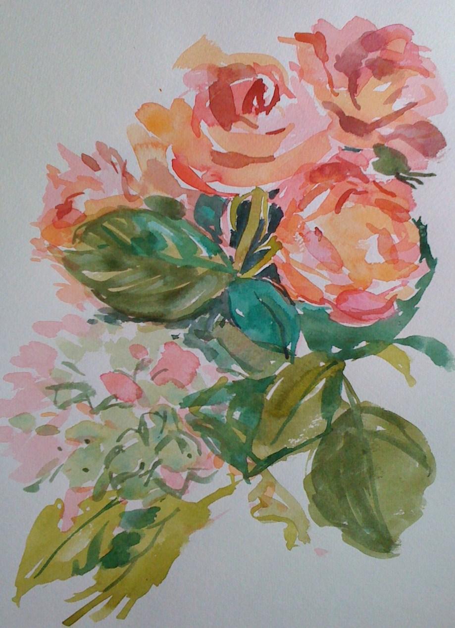 """Roses"" original fine art by Haidee-Jo Summers ROI"
