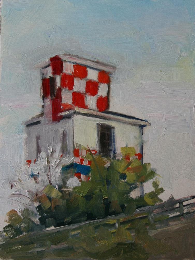 """Tower by the Trains"" original fine art by Carol Josefiak"