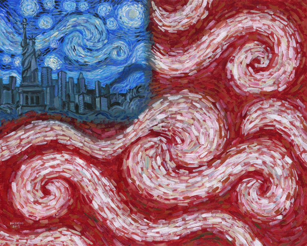 """American Flag No. 2 (Starry American Night)"" original fine art by Randal Huiskens"