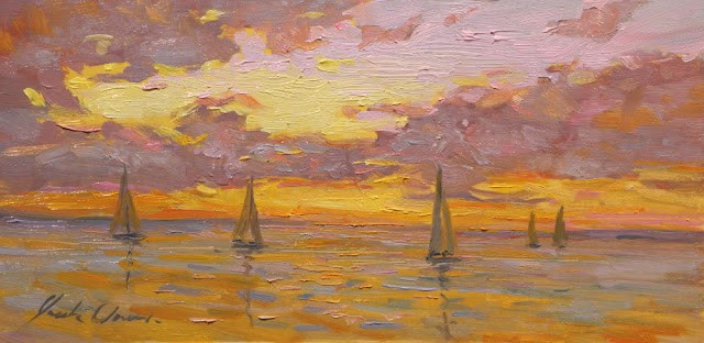"""""""Five Sails at Sunset Framed - Free shipping."""" original fine art by Justin Clements"""