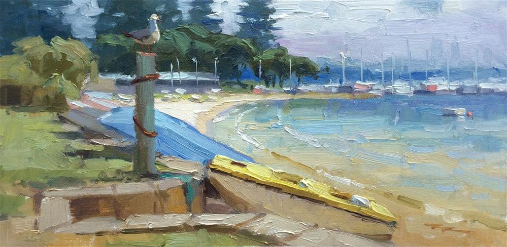 """Seagull on the Swan"" original fine art by Richard Robinson"