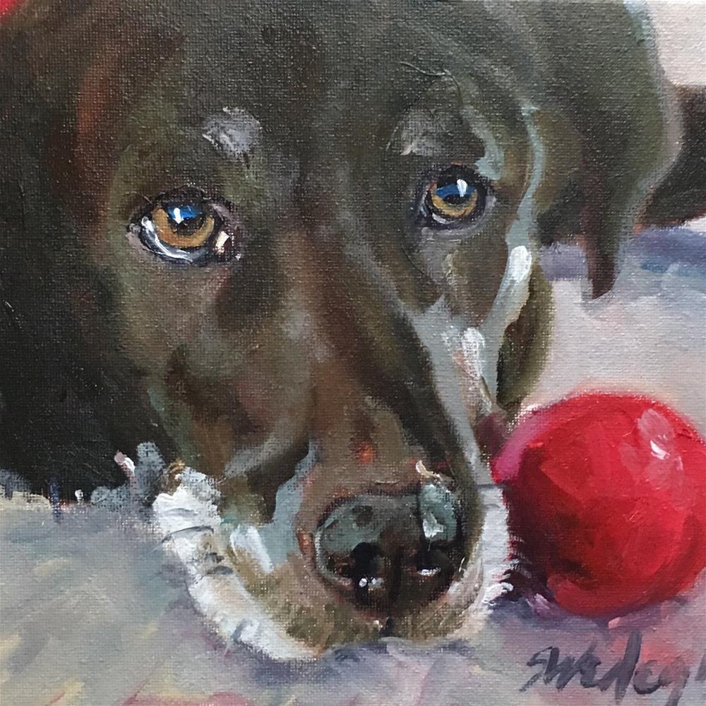 """Red Ball"" original fine art by Sheila Wedegis"