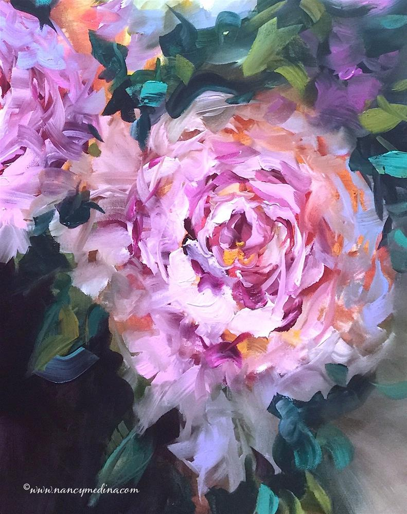 """Taking Flight With Textured Wax and Oils, Detail From Color Flight Pink Peonies"" original fine art by Nancy Medina"