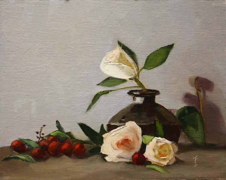 """White Roses"" original fine art by Jane Frederick"