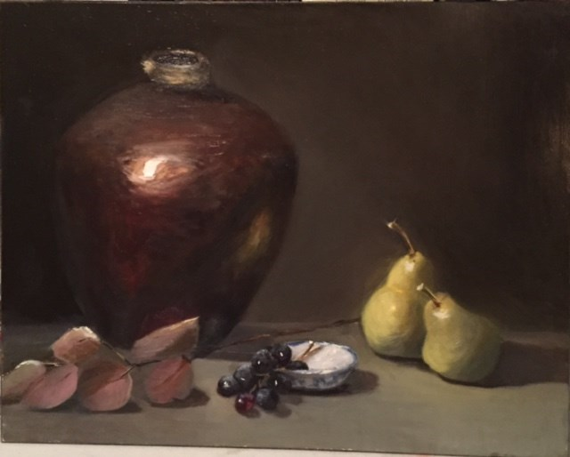 """Pears with Pottery"" original fine art by Cheryl J Smith"