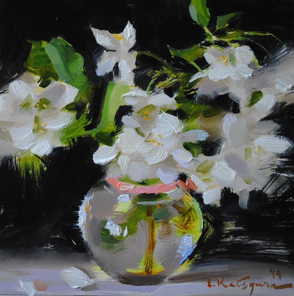"""Blossoms on Black"" original fine art by Elena Katsyura"
