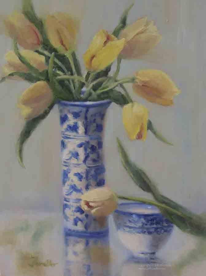 """""""Yellows & Blues"""" original fine art by Pat Fiorello"""