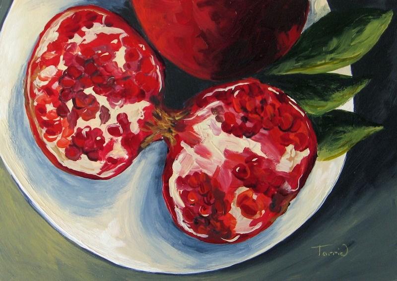 """Pomegranates Sliced"" original fine art by Torrie Smiley"