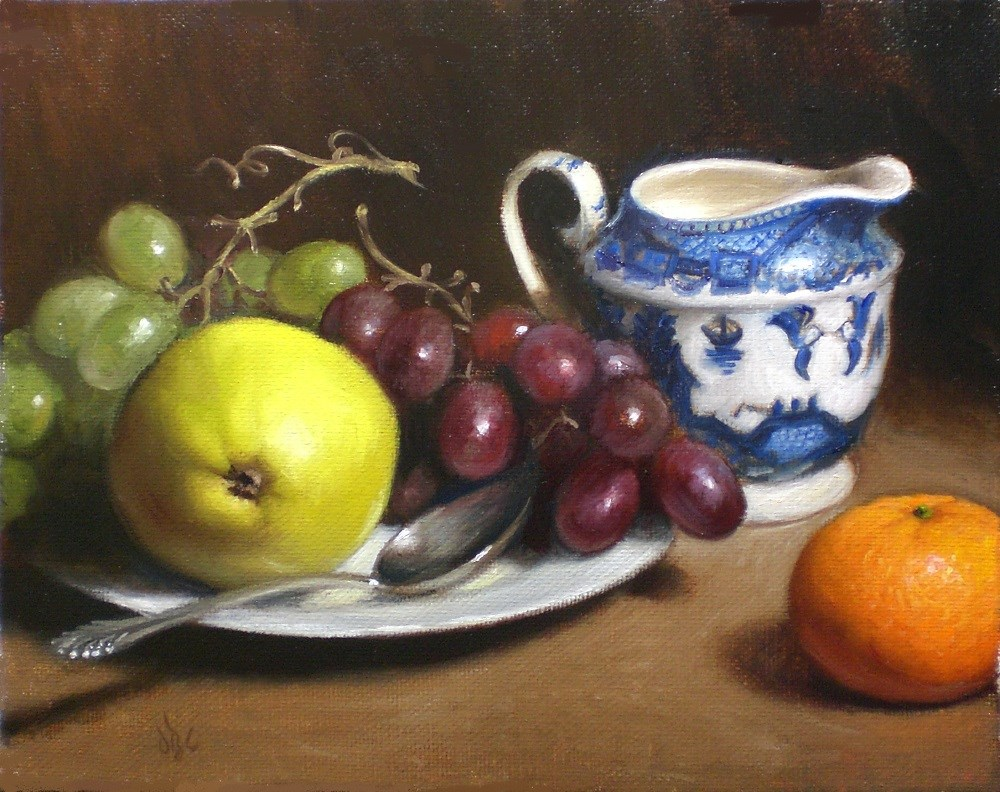 """Fruit with Blue Creamer"" original fine art by Debra Becks Cooper"