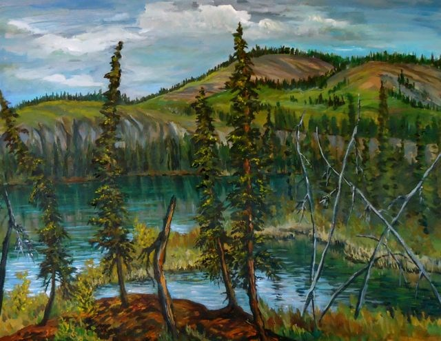 """""""Plein Air, Pond at Magundy July 2014"""" original fine art by Jackie Irvine"""